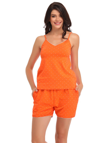Cotton Printed Cami & Shorts - Orange, , Lounge Set Clovia Thailand