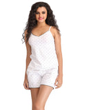 Cotton Printed Cami & Shorts - White, , Lounge Set Clovia Thailand