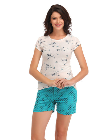 Clovia Cotton Printed Top & Shorts - Green, , Shorts Clovia Thailand