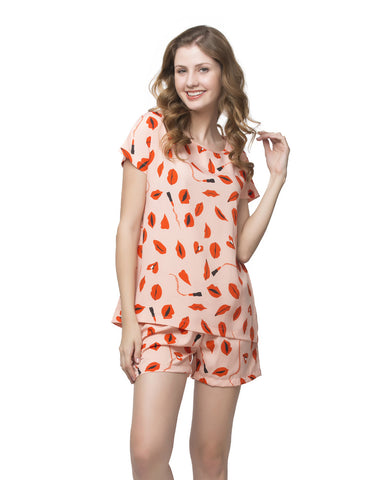 Clovia Printed Shorts & Top Nightwear Set - Orange, , Lounge Set Clovia Thailand
