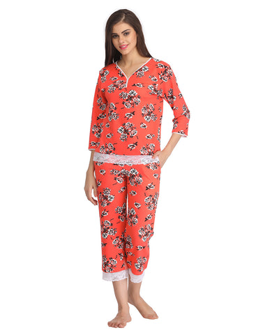 Clovia Floral Print Top and Capri Set With Lace Hem - Orange, , Lounge Set Clovia Thailand