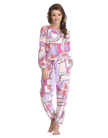 Clovia Abstract Print Full Length Top & Pyjama Set - White, , Lounge Set Clovia Thailand