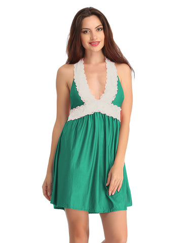 Satin & Lace Short Babydoll - Green, , Night Wear Clovia Thailand