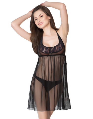SHEER BABYDOLL WITH MATCHING THONG - BLACK, , Nightwear Clovia Thailand