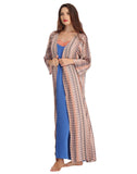 Clovia Long Nighty With Printed Robe - Brown, S / Nude, Nightwear Clovia Thailand