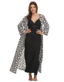 Long Nighty With Printed Robe - Black