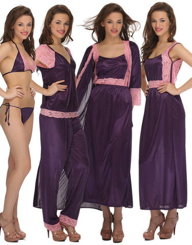 Clovia 7 Pc Satin Nightwear Set - Purple, , Nightwear Clovia Thailand