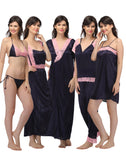 7 Pc Satin Nightwear Set - Blue, , Night Wear Clovia Thailand
