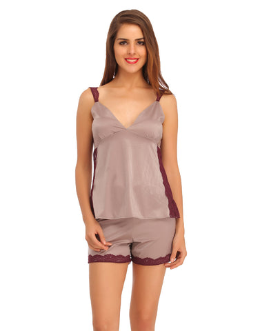 Clovia Plunging Neck Top and Shorts Nightwear Set With Lace Work - Grey, , Nightwear Clovia Thailand