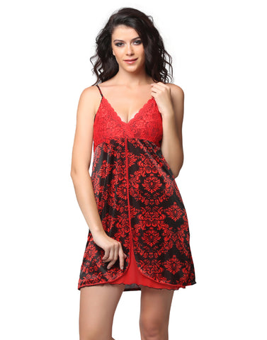 Satin Printed Front Slit Lacy Cup Babydoll - Black