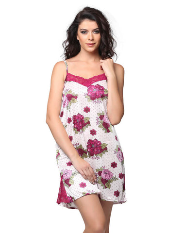 Satin Printed Babydoll With Lacy Neck - Purple, , Night Wear Clovia Thailand