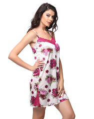 Satin Printed Babydoll With Lacy Neck - Purple, S / Purple, Night Wear Clovia Thailand
