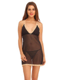 Clovia Lace & Powernet Babydoll With Matching Thong - Black, , Babydoll Clovia Thailand