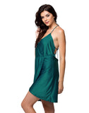 Clovia String Back Over Lap Short Nightdress - Green, S / Green, Nightwear Clovia Thailand