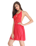 Clovia Backless Lacy Babydoll With Halter Neck - Red, S / Red, Nightwear Clovia Thailand