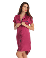 Clovia Satin High-Low Sleepshirt With Contrast Trims - Purple, S / Purple, Nightwear Clovia Thailand