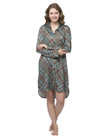 Clovia Checkered High-Low Sleepshirt - Brown, , Nightwear Clovia Thailand