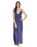 Clovia Full Length Satin Nighty With Lace Work - Blue, , Nightwear Clovia Thailand