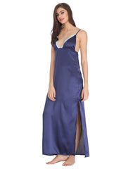 Clovia Full Length Satin Nighty With Lace Work - Blue, S / Blue, Nightwear Clovia Thailand