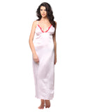 Satin Side Slit Long Nighty With Lacy Plunge Neck - Pink, , Night Wear Clovia Thailand