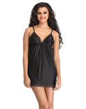 Clovia Plunged Neck Baby Doll With Adjustable Straps - Black, , Nightwear Clovia Thailand
