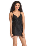 Clovia Plunged Neck Baby Doll With Adjustable Straps - Black, S / Black, Nightwear Clovia Thailand