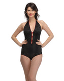 Clovia Halter Neck Teddy with Contrast Red Bow & Trimmed Elastic - Black, , Nightwear Clovia Thailand
