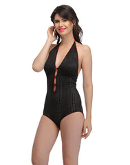 Clovia Halter Neck Teddy with Contrast Red Bow & Trimmed Elastic - Black, S / Black, Nightwear Clovia Thailand