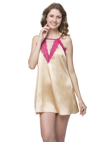 Clovia Lacy Neck Babydoll With Cross Back - Beige, , Nightwear Clovia Thailand