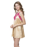 Clovia Lacy Neck Babydoll With Cross Back - Beige, S / Nude, Nightwear Clovia Thailand