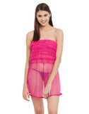 Frilled Mesh babydoll With Thong - Pink, , Night Wear Clovia Thailand