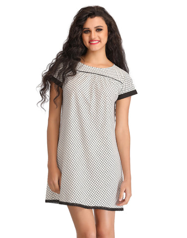 Short Nighty With Lacy Hem - Grey, , Night Wear Clovia Thailand