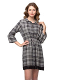 Clovia Short Check Printed Winter Short Nightdress - Grey, , Nightwear Clovia Thailand