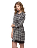 Clovia Short Check Printed Winter Short Nightdress - Grey, S / Grey, Nightwear Clovia Thailand