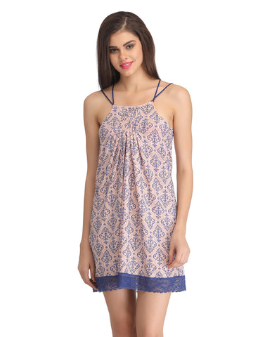 Clovia Printed Baby Doll With Lacy Hem - Peach