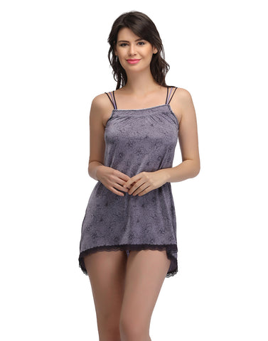 Clovia Short Baby Doll Nighty With Lace Hem - Purple