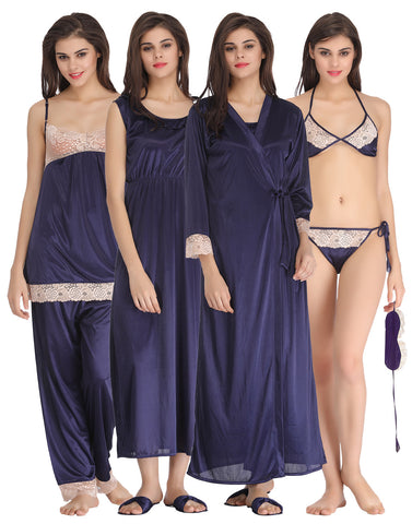 Clovia 8 Pc Satin Nightwear Set - Navy, , Nightwear Clovia Thailand