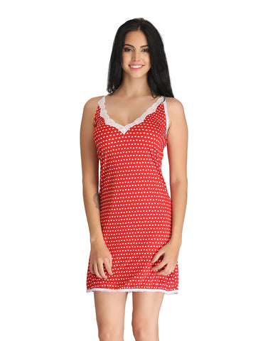Clovia Printed Babydoll With Lace At Hem & Neck - Red
