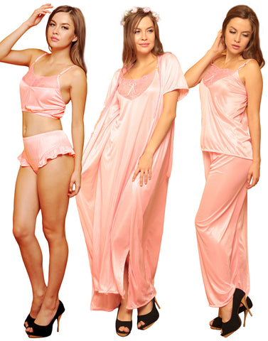 6 PCS NIGHTWEAR SET IN BABY PINK, , Sleepwear Clovia Thailand