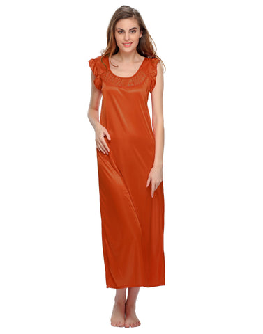 Satin Long Nighty - Orange, , Night Wear Clovia Thailand