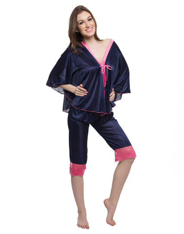 Clovia Satin Kaftan Top & Lacy Capri Set - Blue, , Nightwear Clovia Thailand