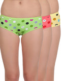 Miss Clyra Set Of 3 Cotton High Waist Panty - Redish Pink, Green & Yellow