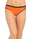Cotton Mid Waist Bikinii With Contrast Elastic Waistband - Orange, , Panty Clovia Thailand