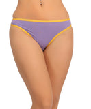 Cotton Mid Waist Bikinii With Contrast Elastic Trims - Purple, , Panty Clovia Thailand