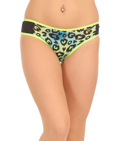 Cotton Mid Waist Bikinii With Powernet Side Wings - Green, , Panty Clovia Thailand