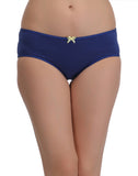 Cotton Mid Waist Bikini With Contrast Bow At Centre - Blue, , Panty Clovia Thailand