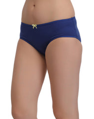 Cotton Mid Waist Bikini With Contrast Bow At Centre - Blue, S / Blue, Panty Clovia Thailand
