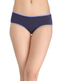 Clovia Cotton Mid Waist Hipster With Contrast Elastic Band - Blue