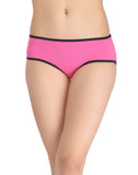 Clovia Cotton Mid Waist Hipster With Contrast Elastic Band - Pink