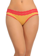 Cotton Mid Waist Bikinii With Contrast Lace At Waist - Yellow, , Panty Clovia Thailand